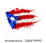 flag of  puerto rico made of... | Shutterstock .eps vector #206674990