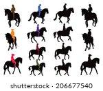 horse rider vector silhouettes... | Shutterstock .eps vector #206677540