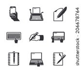 writing icons | Shutterstock .eps vector #206678764