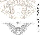 detailed art nouveau decorative ... | Shutterstock .eps vector #206682994