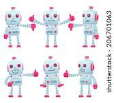 set of old robot character in... | Shutterstock .eps vector #206701063