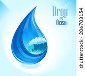 surfing in a drop of ocean | Shutterstock .eps vector #206703154