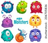 set of cute colorful monsters. | Shutterstock .eps vector #206705836