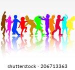 dancing children silhouettes | Shutterstock .eps vector #206713363