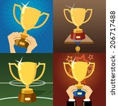 set of four gold trophies or... | Shutterstock . vector #206717488