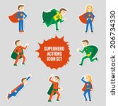 set of comic character... | Shutterstock .eps vector #206734330