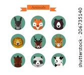 animals avatars vector set