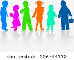 happy children   Shutterstock .eps vector #206744110