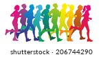 colorful silhouettes of a group ... | Shutterstock . vector #206744290