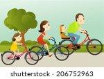 cartoon happy family | Shutterstock .eps vector #206752963
