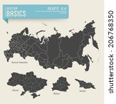 vector basics  detailed maps of ... | Shutterstock .eps vector #206768350