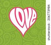 love heart on seamless paisley... | Shutterstock .eps vector #206773984