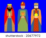 Stylized illustration of the three wise men. - stock vector