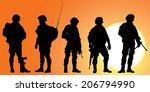 army soldiers silhouette... | Shutterstock .eps vector #206794990