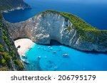 amazing navagio beach in... | Shutterstock . vector #206795179