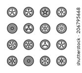 Wheels Icons Set.