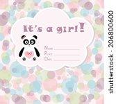 baby girl arrival card. baby... | Shutterstock .eps vector #206800600