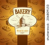 windmill . bakery. labels  pack ... | Shutterstock .eps vector #206809153