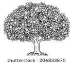 engraved apple tree full of... | Shutterstock .eps vector #206833870