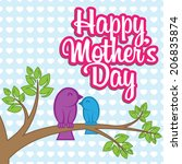 mother's day vector wish card | Shutterstock .eps vector #206835874