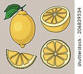 isolated lemons. graphic... | Shutterstock .eps vector #206839534