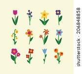 cute flowers icon   Shutterstock .eps vector #206848858