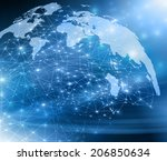 best internet concept of global ... | Shutterstock . vector #206850634