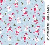 cute christmas seamless pattern ... | Shutterstock .eps vector #206853298