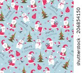 cute christmas seamless pattern ... | Shutterstock .eps vector #206854150