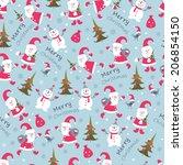 cute christmas seamless pattern ... | Shutterstock .eps vector #206854150
