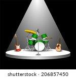 rock band musical instruments... | Shutterstock .eps vector #206857450