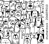 black and white doodle dogs and ... | Shutterstock .eps vector #206859010