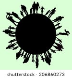 big family silhouettes | Shutterstock .eps vector #206860273