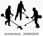 woman cutting grass | Shutterstock .eps vector #206860354