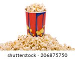 popcorn in bucket on heap of... | Shutterstock . vector #206875750