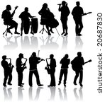 11 musician silhouettes | Shutterstock .eps vector #20687830