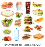 food and drinks collage... | Shutterstock . vector #206878720