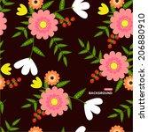 pattern flower retro vintage | Shutterstock .eps vector #206880910