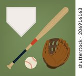 vector set of baseball items... | Shutterstock .eps vector #206916163