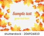vector autumn holiday card with ... | Shutterstock .eps vector #206926810