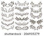 vector design hand drawn floral ... | Shutterstock .eps vector #206935279