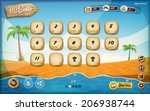 Desert Island Game User Interface Design For Tablet/ Illustration of a funny summer tropical beach graphic game user interface background, in cartoon style with basic buttons, for wide screen tablet