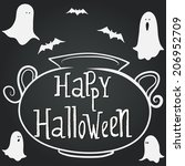 halloween hand drawn frame in... | Shutterstock .eps vector #206952709