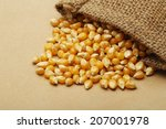 the grain corn in small sack | Shutterstock . vector #207001978
