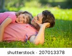 daddy carrying children and... | Shutterstock . vector #207013378