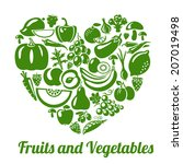 organic food concept. heart... | Shutterstock .eps vector #207019498