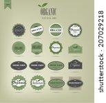 organic food labels and elements | Shutterstock .eps vector #207029218