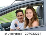 happy and cheerful young couple ... | Shutterstock . vector #207033214