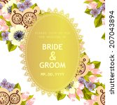wedding invitation cards with... | Shutterstock .eps vector #207043894