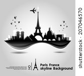paris  france  skyline... | Shutterstock .eps vector #207046570